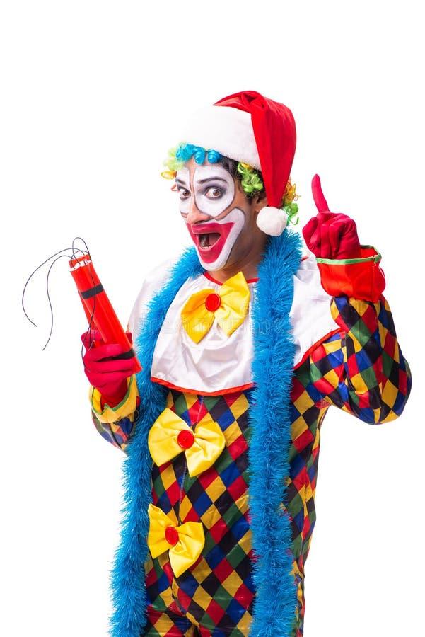 Den unga roliga clownkomediförfattaren som isoleras på vit royaltyfria bilder