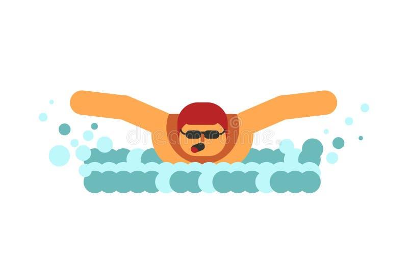 Den unga simmaren andas i luft, innan han doppar i isolerat vatten stock illustrationer