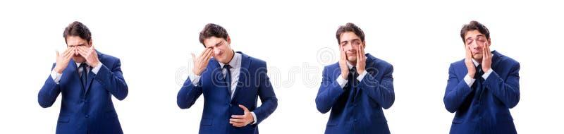 Den unga sjuka och olyckliga affärsmannen som isoleras på vit bakgrund arkivbild