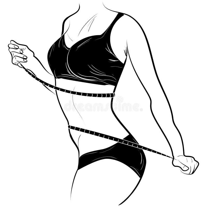 Den unga spensliga kvinnlign mäter midjan vid bandet stock illustrationer