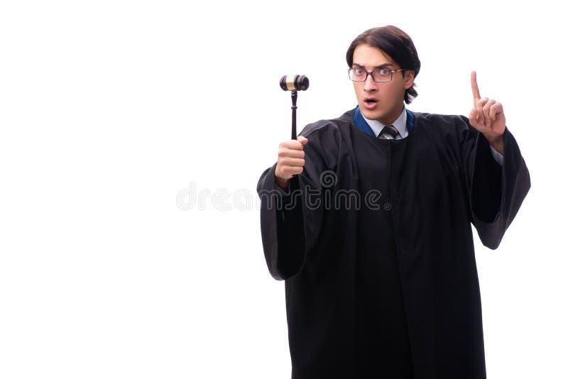 Den unga stiliga domaren som isoleras på vit arkivbild