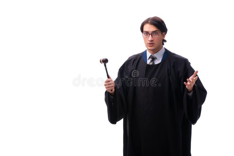 Den unga stiliga domaren som isoleras på vit arkivfoton