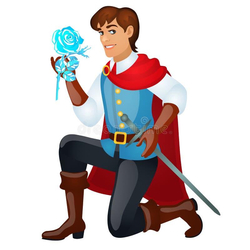 Den unga stiliga prinsen med ett svärd som rymmer en is, steg isolerat på vit bakgrund Vektortecknad filmnärbild vektor illustrationer
