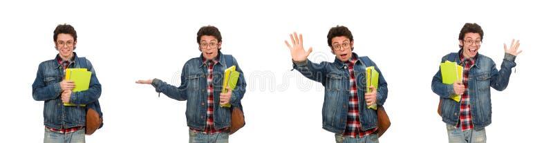 Den unga studenten som isoleras p? vit arkivbilder