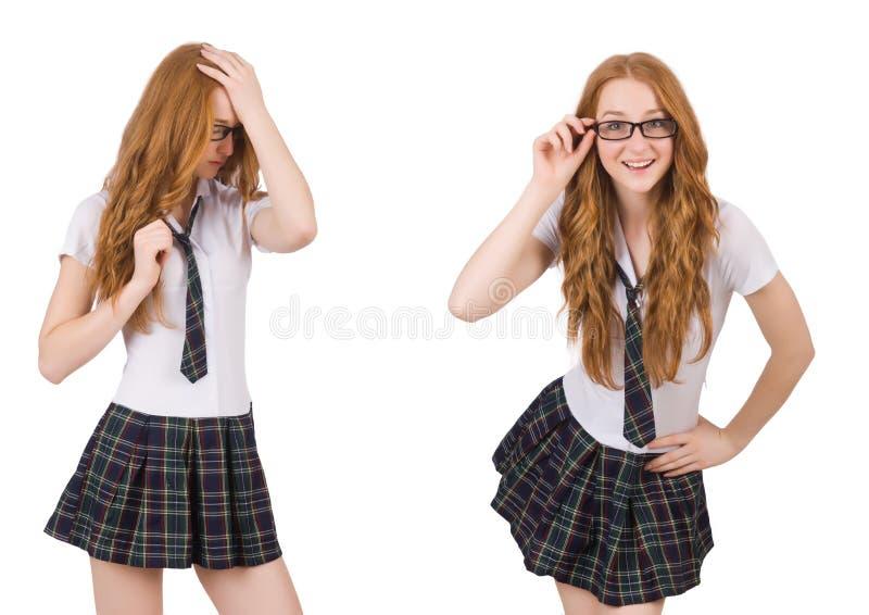 Den unga studentkvinnlign som isoleras på vit arkivfoto