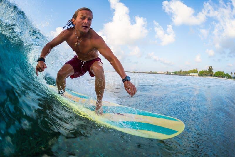 Den unga surfaren rider vågen royaltyfri bild