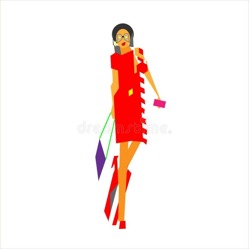 Den unga trendiga flickan, kvinnaabstraktion älskar jag shopping också vektor för coreldrawillustration Fashionista med geometris royaltyfri illustrationer