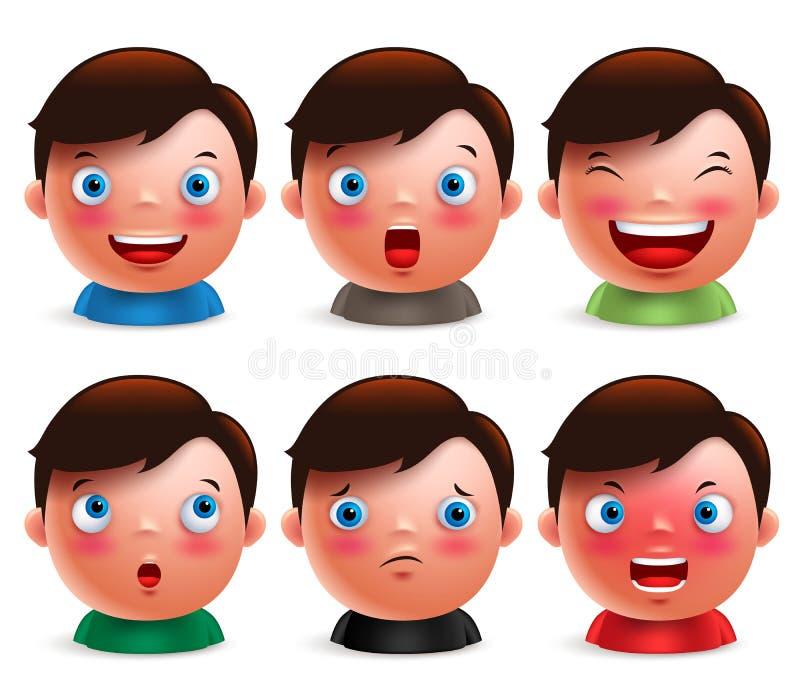 Den unga uppsättningen för ansiktsuttryck för pojkeungeavataren av den gulliga emoticonen heads vektor illustrationer