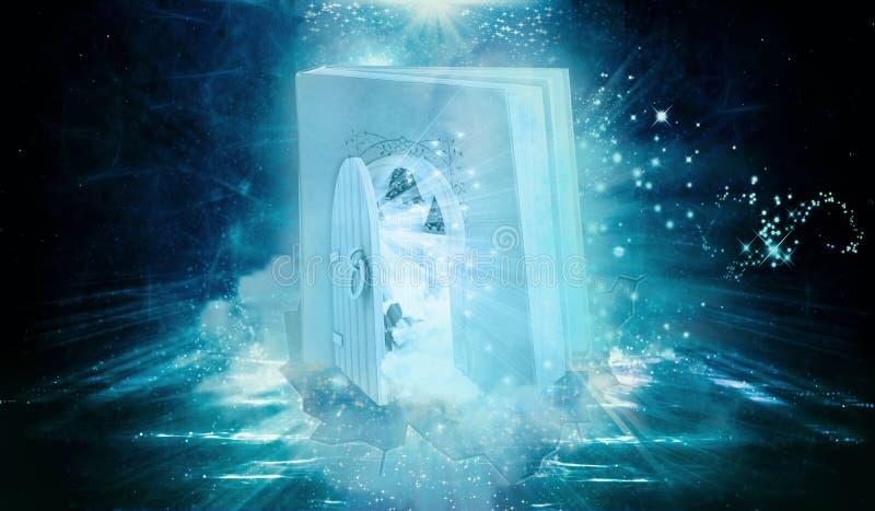 Den unika konstnärliga färgrika datoren för tolkningen 3d frambragte på illustrationen av boken formad port med en annan dimensio royaltyfri illustrationer