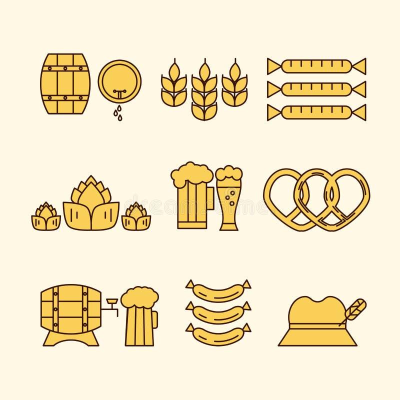 Den unika och moderna uppsättningen av öl gällde symboler royaltyfri illustrationer