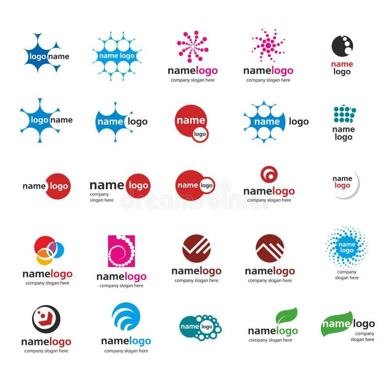 Den olika logoen klumpa ihop sig royaltyfri illustrationer