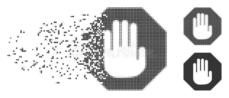 Den upplösta PIXELhalvton avslutar symbolen vektor illustrationer