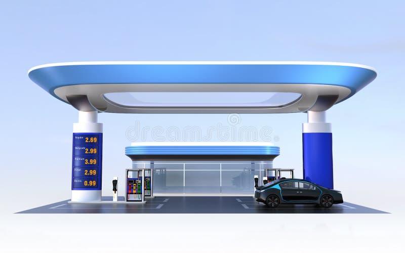 Den uppladdningsstationen och bensinstationen för samtida EV planlägger för nytt energiförsörjningbegrepp stock illustrationer