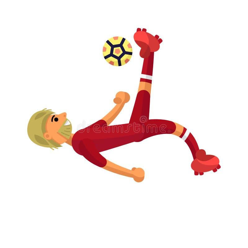 Den uppsökte fotbollsspelaren sparkar bollen till och med honom royaltyfri illustrationer