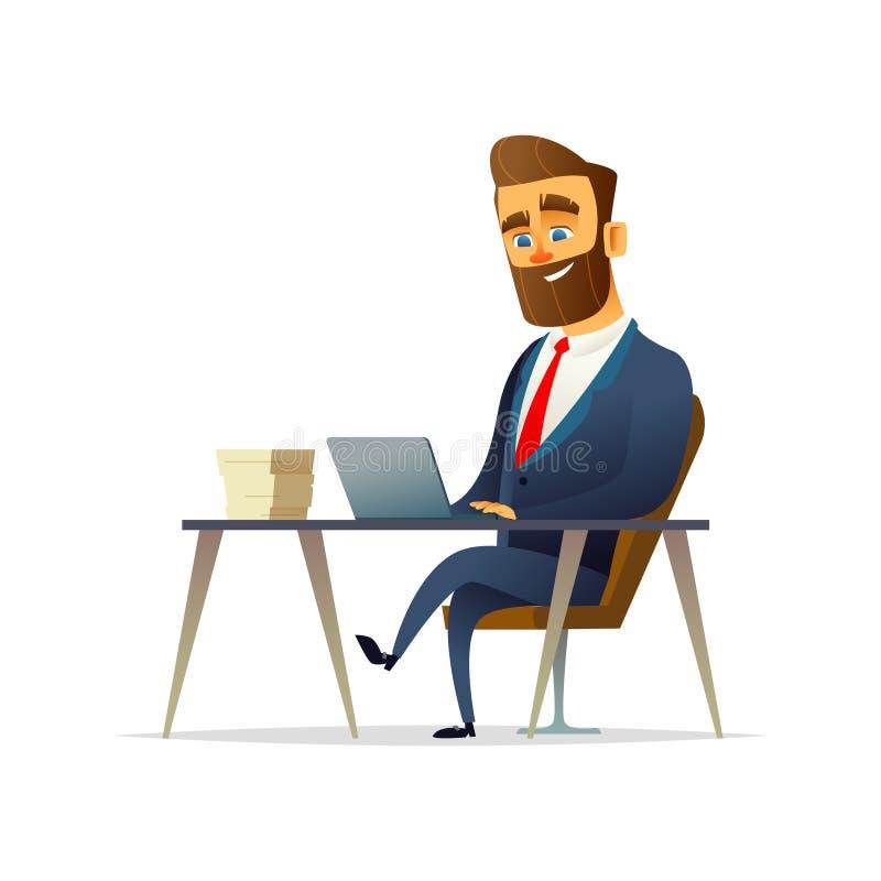 Den uppsökte gladlynta affärsmannen sitter och arbetar på hans arbetsplats Chef som arbetar på en bärbar dator stock illustrationer