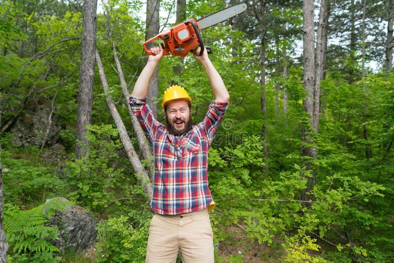 Den upps?kte skogsarbetaren med en chainsaw g?r framsidor arkivbild