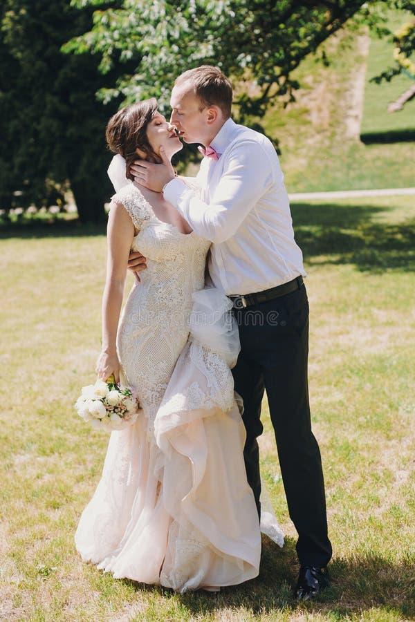 Den ursnygga bruden, i att förbluffa kappan och den stilfulla brudgummen som kysser och skrattar i soligt, parkerar Härliga lyckl arkivbild