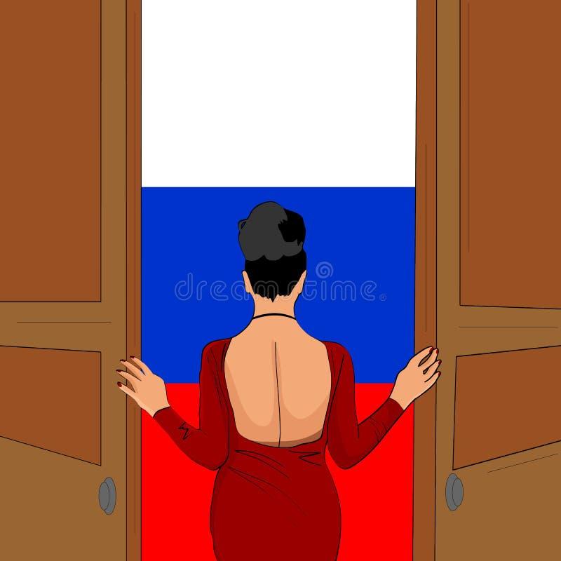 Den ursnygga flickan öppnar dörren till Ryssland Välkomnande till Ryssland royaltyfri illustrationer