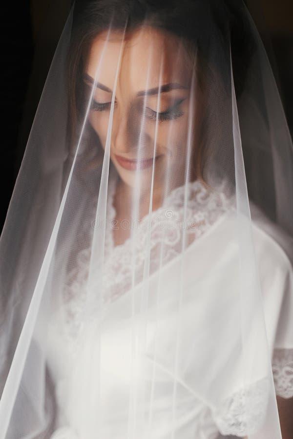 Den ursnygga härliga bruden i siden- ämbetsdräkt skyler under att posera på windoen royaltyfri fotografi