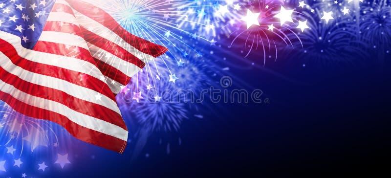 Den USA eller Amerika flaggan med fyrverkerier gör sammandrag bakgrund royaltyfri illustrationer