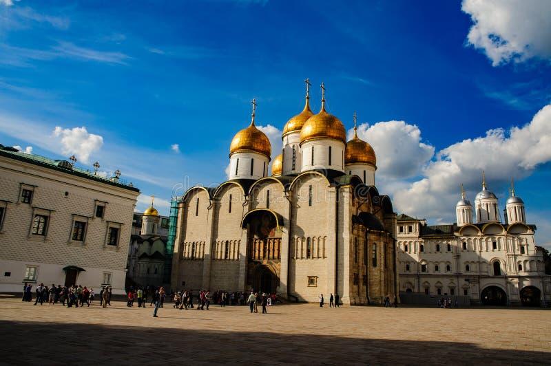 Den Uspensky domkyrkan i Kreml, Moskva royaltyfri foto