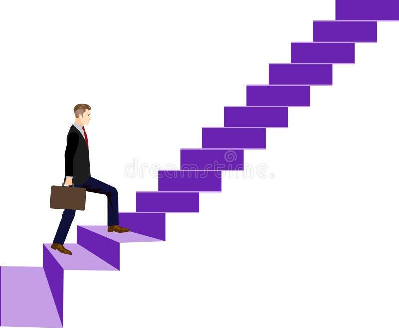 Den utövande affärsmannen Go Up Stair går till överkantvektorillustrationen vektor illustrationer
