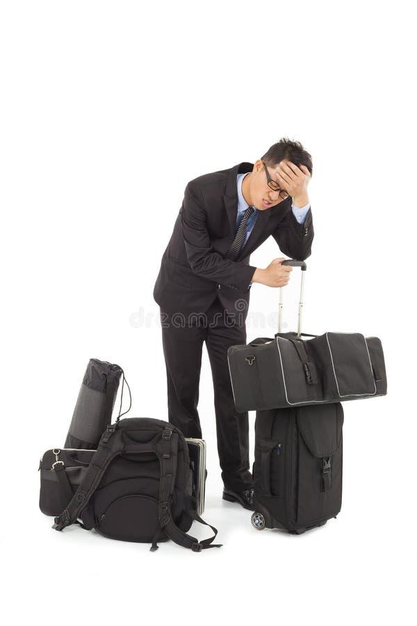 Den utmattade affärsmannen är för trött arkivbild