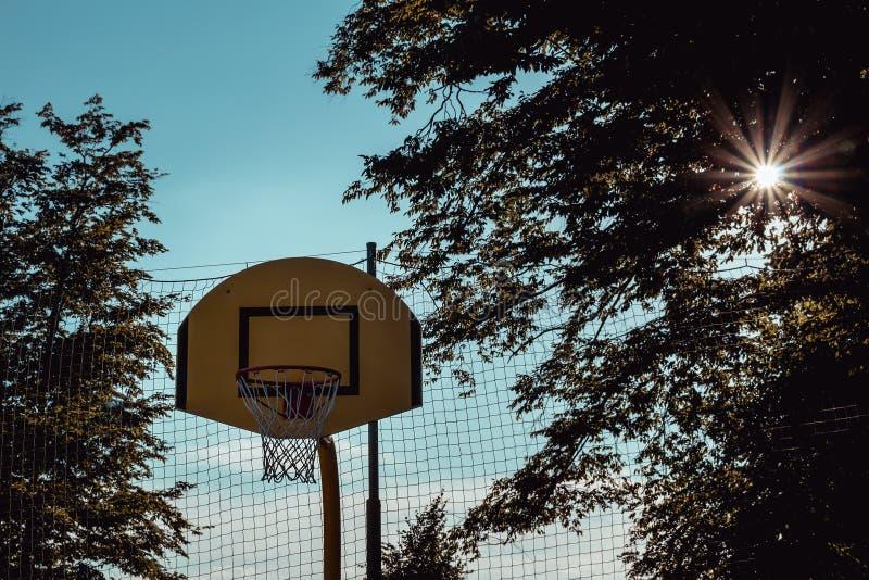 Den utomhus- basketkorgen med förtjänar med träd och solen arkivfoton
