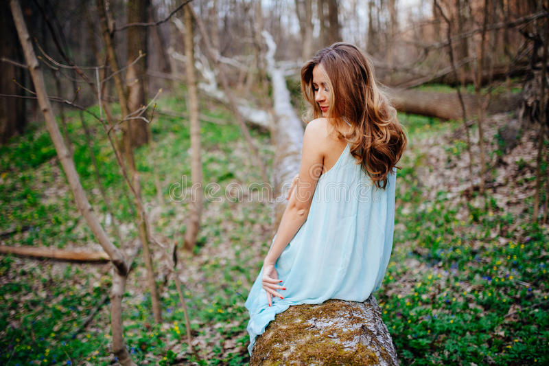 Den utomhus- ståenden av en härlig brunettmodell i blått klär på våren skogen royaltyfri foto