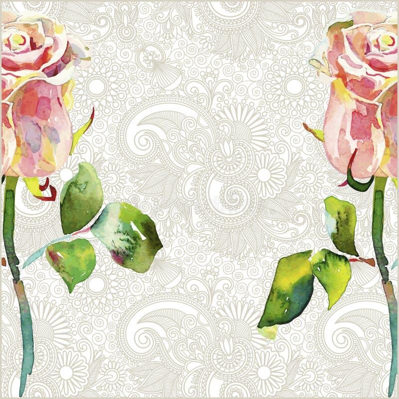 Den utsmyckade blom- modellen med den rosa vattenfärgen steg vektor illustrationer