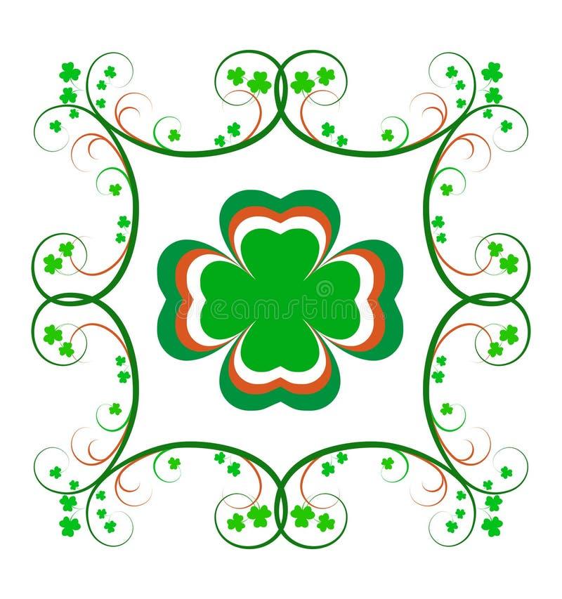 Den utsmyckade irländska shamrocken inramar royaltyfri bild