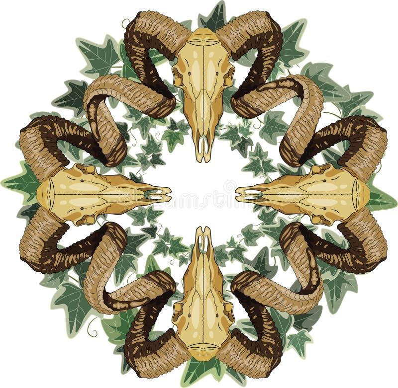 Den vädurbighornskallen och kransen flätade ihop med murgrönan, mosaikmodell stock illustrationer