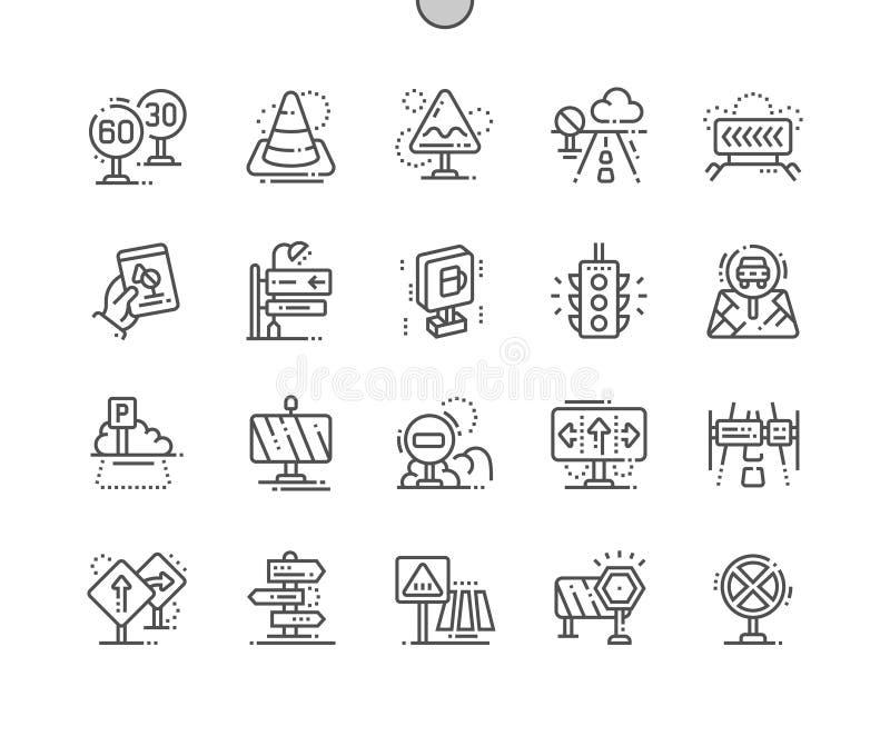 Den vägmärken Brunn-tillverkade perfekta vektorn för PIXELet fodrar thin rastret 2x för symboler 30 för rengöringsdukdiagram och  stock illustrationer