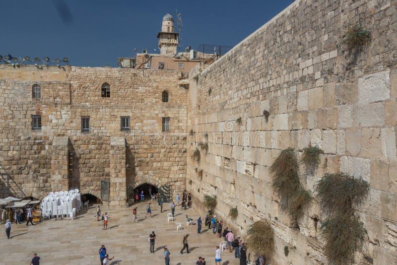 Den västra väggen eller att jämra sig vägg, Jerusalem, Israel royaltyfria bilder