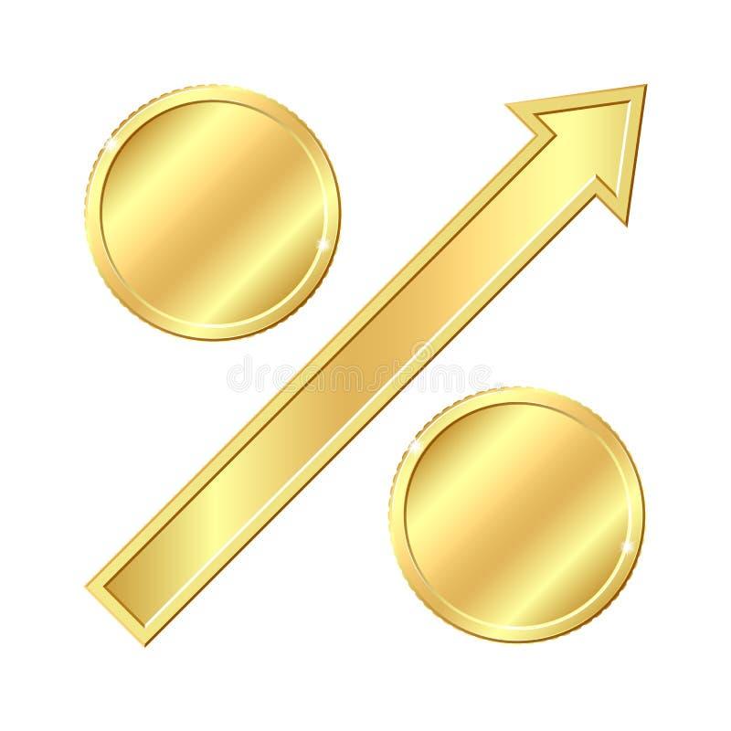 Den växande procentsatsen undertecknar med guld- myntar. vektor illustrationer