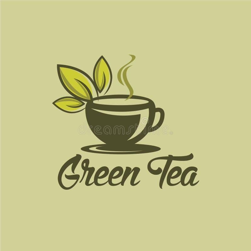Den växt- logoen för koppen för grönt te, växt- drinklogo, det gröna bladet med rånar logo stock illustrationer