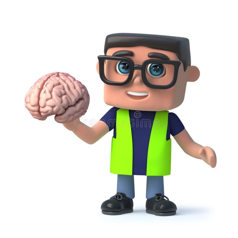 den vård- tecknade filmen 3d och säkerhetsinspektörteckenet rymmer en mänsklig hjärna royaltyfri illustrationer