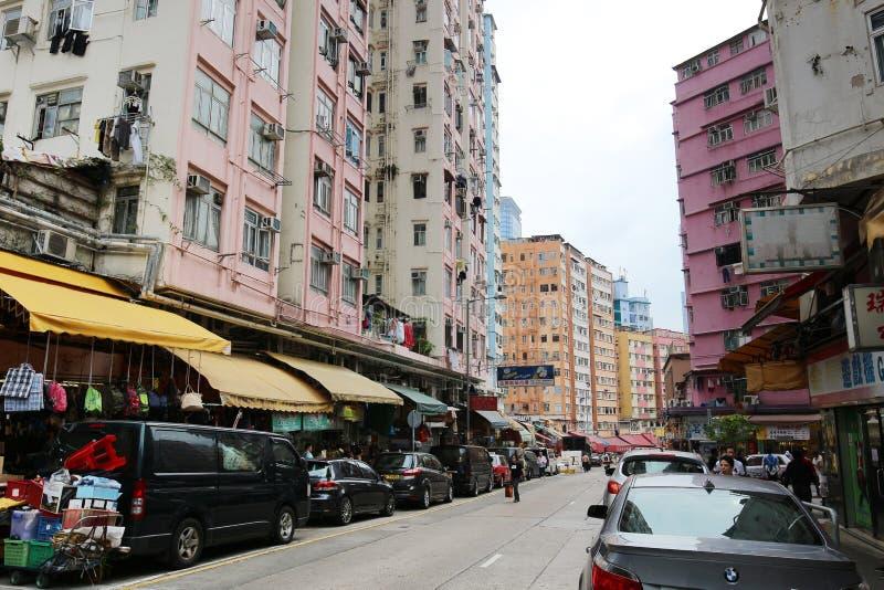 den våta marknaden på den Shui Wo gatan arkivfoton