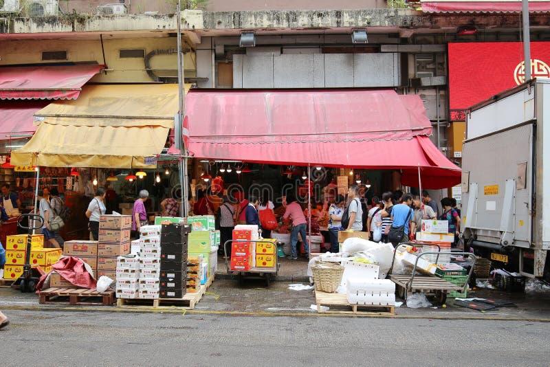 den våta marknaden på den Shui Wo gatan arkivbild