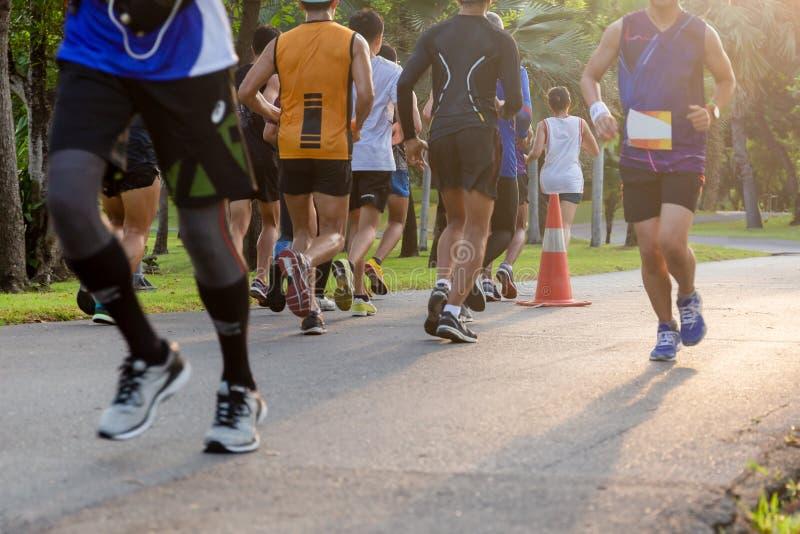 Den valda fokusgruppen av maratonfolk som joggar i, parkerar i morgon royaltyfria foton