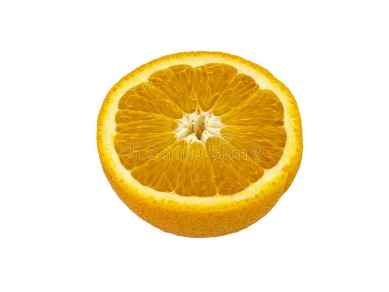 Den Valencia apelsinen klippte i halva över vit bakgrund arkivfoto