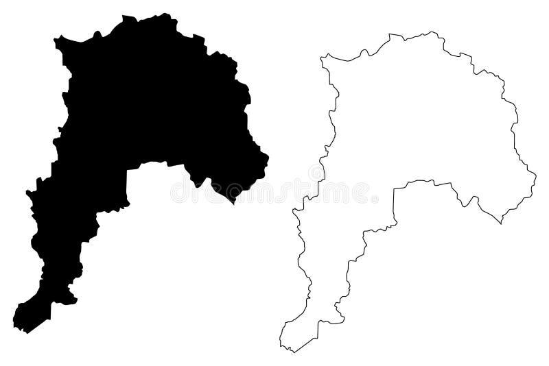 Den Valparaiso regionrepubliken av Chile, administrativa uppdelningar av illustrationen för den Chile översiktsvektorn, klottrar  royaltyfri illustrationer