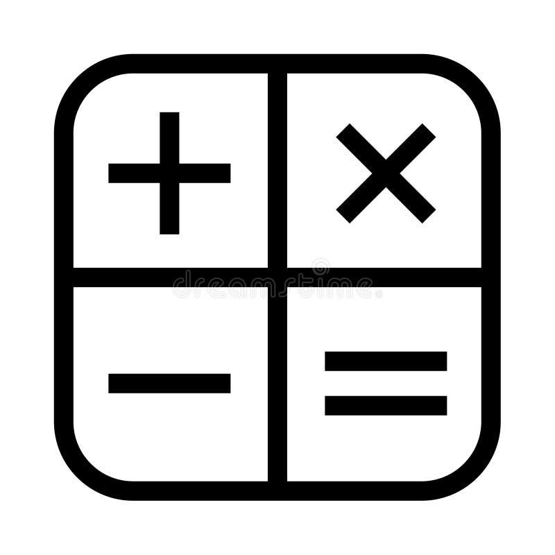 Den vanliga räknemaskinsymbolen plus negativ multiplicerar lika royaltyfri illustrationer
