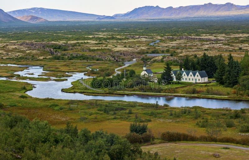 Den vanliga thingvellirnationalparken i reykjavik skriver in till Island den guld- cirkeln royaltyfria bilder