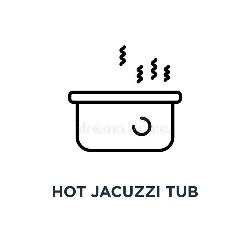 Den varma bubbelpoolen badar symbolen Linjär enkel beståndsdelillustration Jacuzz stock illustrationer