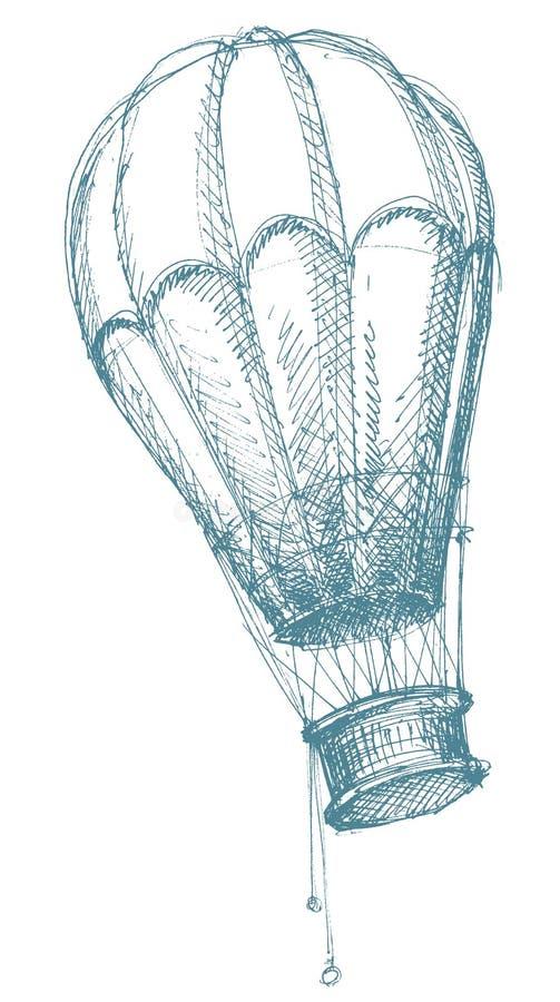 den varma luftballongen skissar stock illustrationer