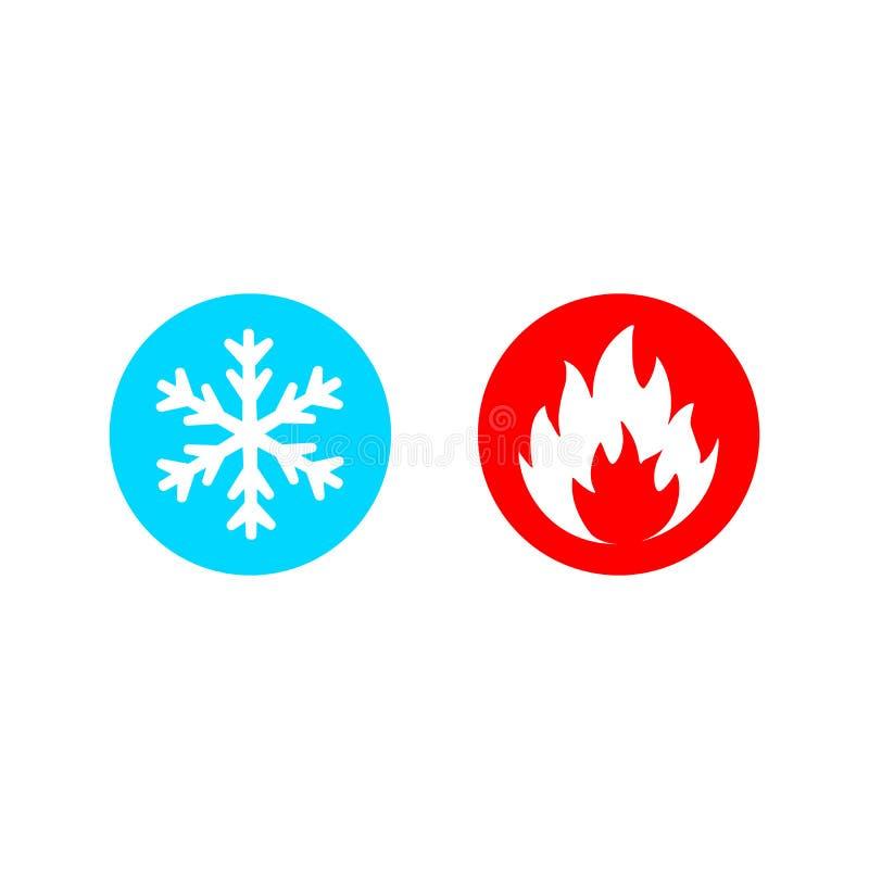 Den varma och kalla vektorsymbolen ställde in på vit vektor illustrationer