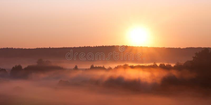 Den varma solen stiger över den dimmiga dalen arkivbilder
