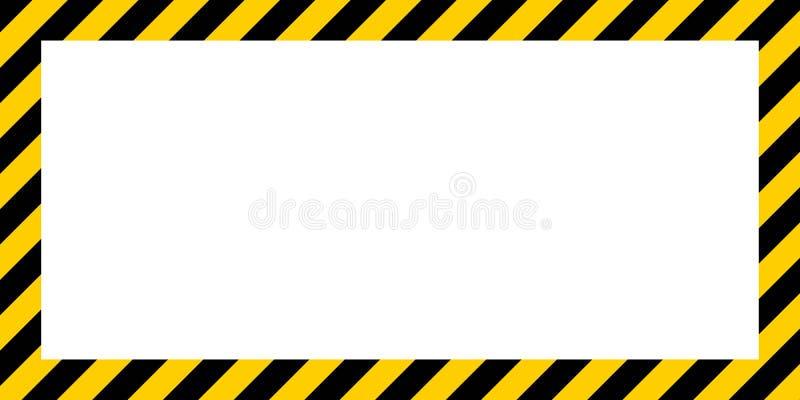 Den varnande randiga rektangulära bakgrundsgränsen gulnar och svärtar gränsen för färgkonstruktionsvarning stock illustrationer