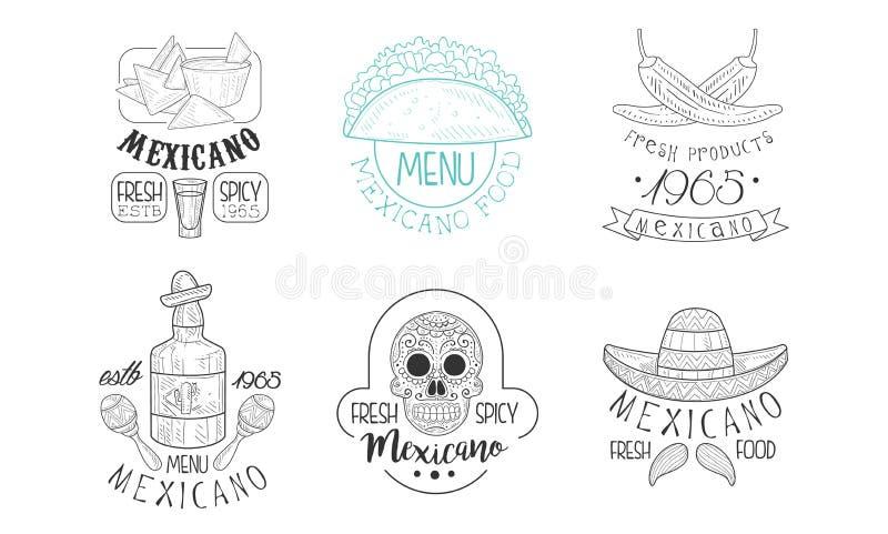 Den Vectoe uppsättningen av skissar emblem för mexicansk restaurang Räcka utdragna logoer med den traditionella mat och drinken,  royaltyfri illustrationer